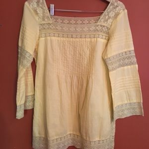 Sundance lace pin tuck eyelet tunic blouse small